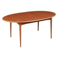 Danish Modern Teak & Oak Butterfly-Leaf Oval Dining Table