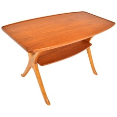 Danish Modern Teak and Oak Swag Leg Coffee Table
