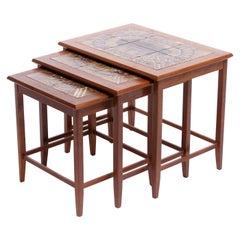 Danish Modern Teak & Painted Ceramic Tile Stacking Tables by Toften Mobelfabrik