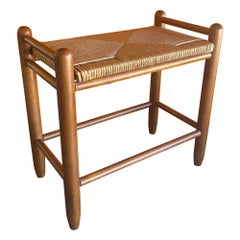 Danish Modern Teak & Paper Cord Stool / Bench