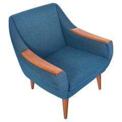 Danish Modern Teak Pawed Lounge Chair in Blue Wool, Mid-Century Modern
