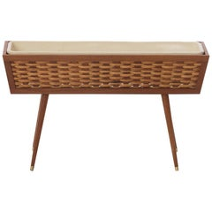 Danish Modern Teak Planter Box with Basket-Weave Detail