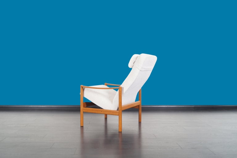Danish Modern Teak Reclining Lounge Chair and Ottoman For Sale 4