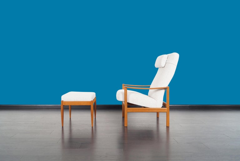 Mid-Century Modern Danish Modern Teak Reclining Lounge Chair and Ottoman For Sale