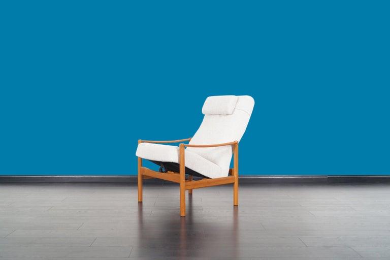 Danish Modern Teak Reclining Lounge Chair and Ottoman For Sale 1