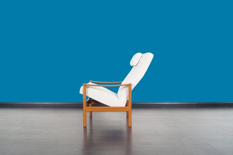 Danish Modern Teak Reclining Lounge Chair and Ottoman For Sale 2
