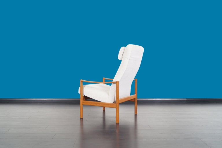 Danish Modern Teak Reclining Lounge Chair and Ottoman For Sale 3