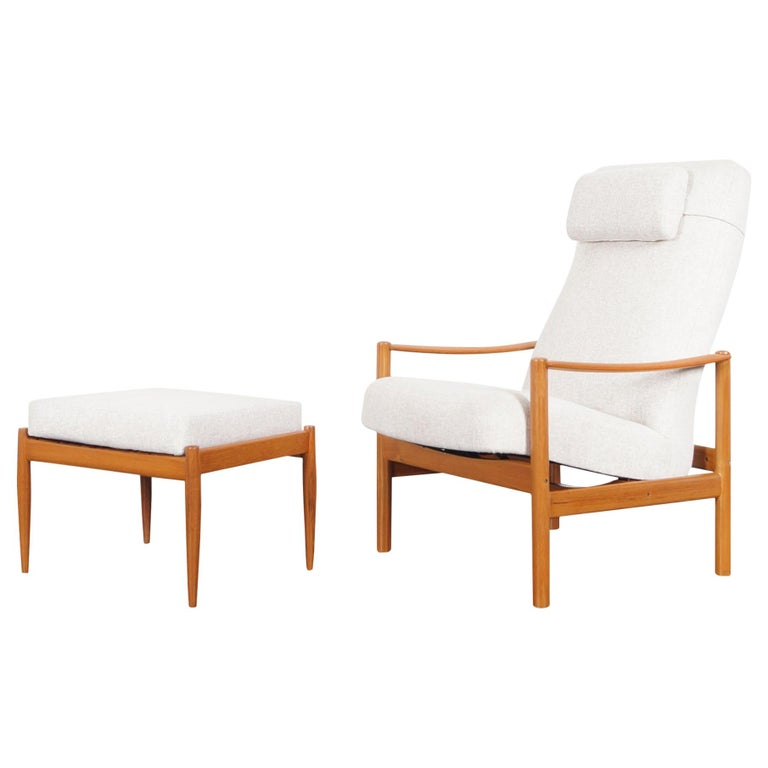 Danish Modern Teak Reclining Lounge Chair and Ottoman For Sale