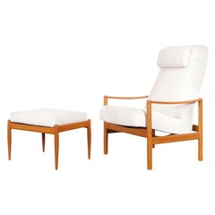 Danish Modern Teak Reclining Lounge Chair and Ottoman