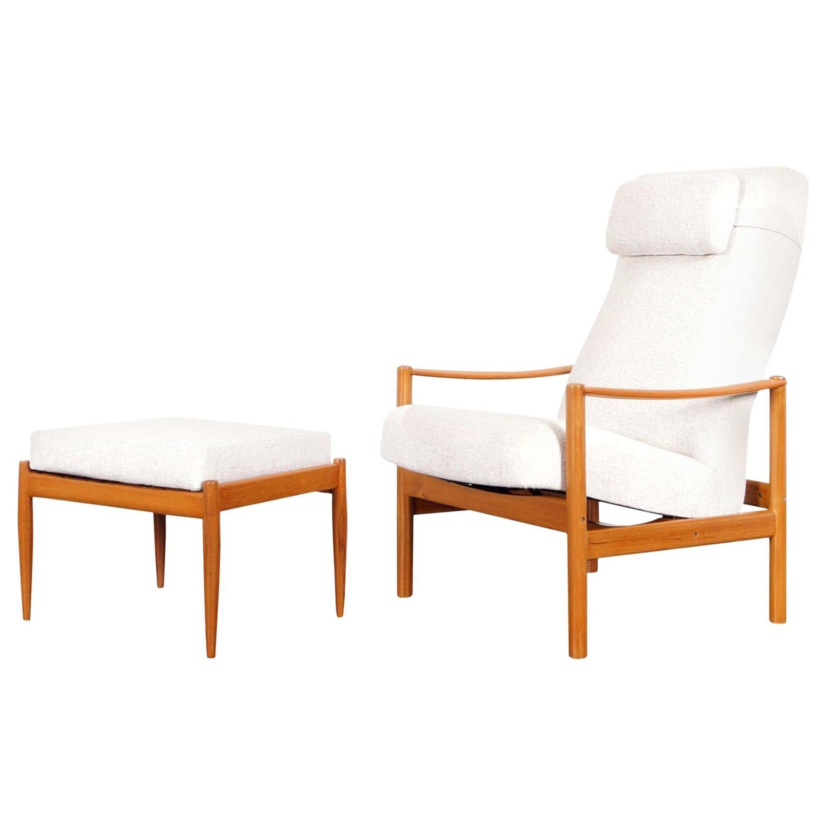 Danish Modern Teak Reclining Lounge Chair and Ottoman