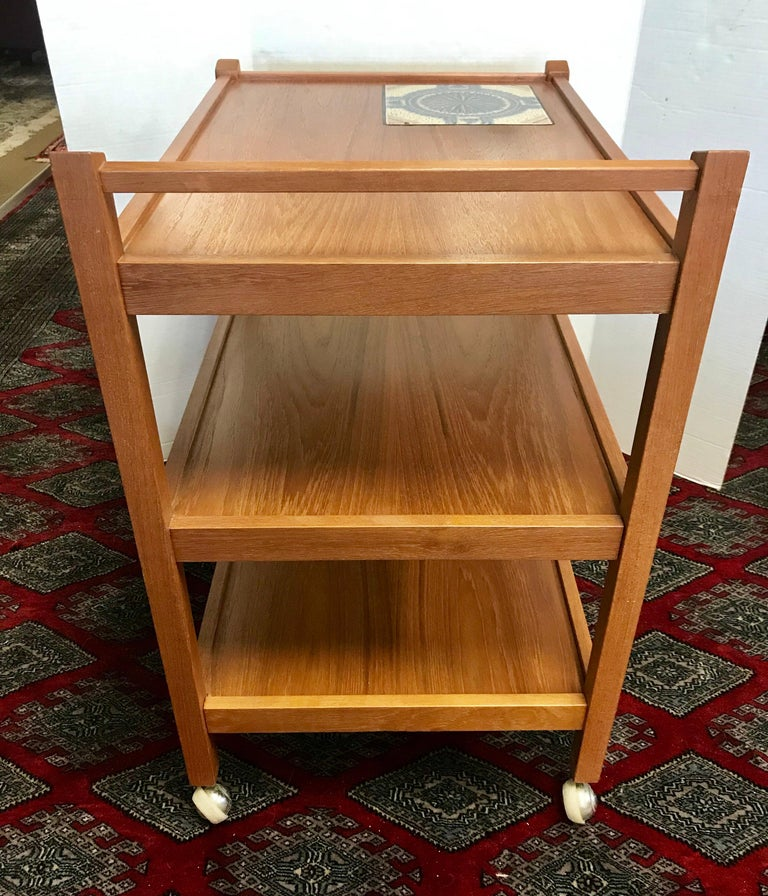 Danish Modern Teak Rolling Bar Cart Tea Trolley Cart Caddy with Tile Insert Top For Sale 1