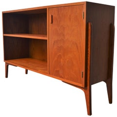 Danish Modern Teak Room Divider or Cabinet with Exposed Legs and Finished Back