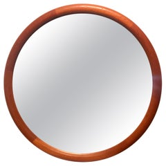 Danish Modern Teak Round Piping Mirror