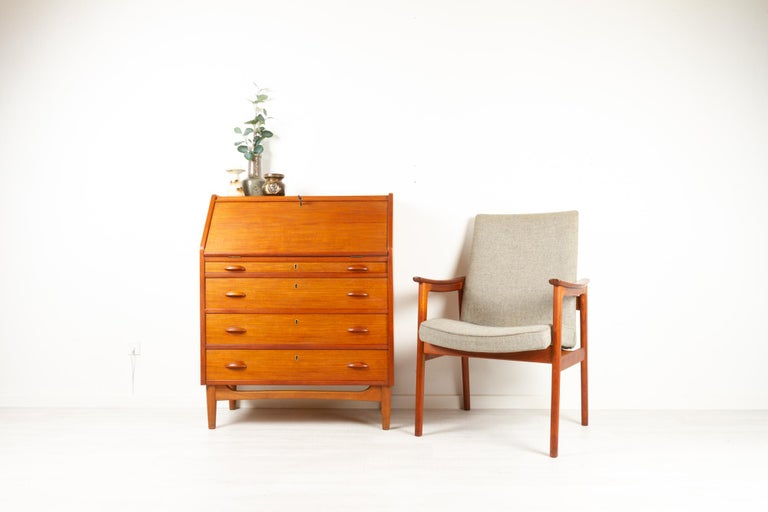Danish Modern Teak Secretaire, 1960s For Sale 11