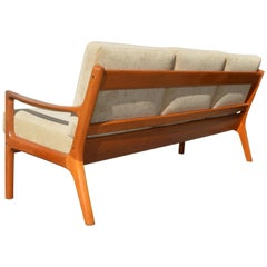 Danish Modern Teak Senator Sofa by Ole Wanscher for France & Son, Ecru Velvet