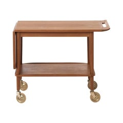 Danish Modern Teak Serving Cart with Drop Leaf Detail