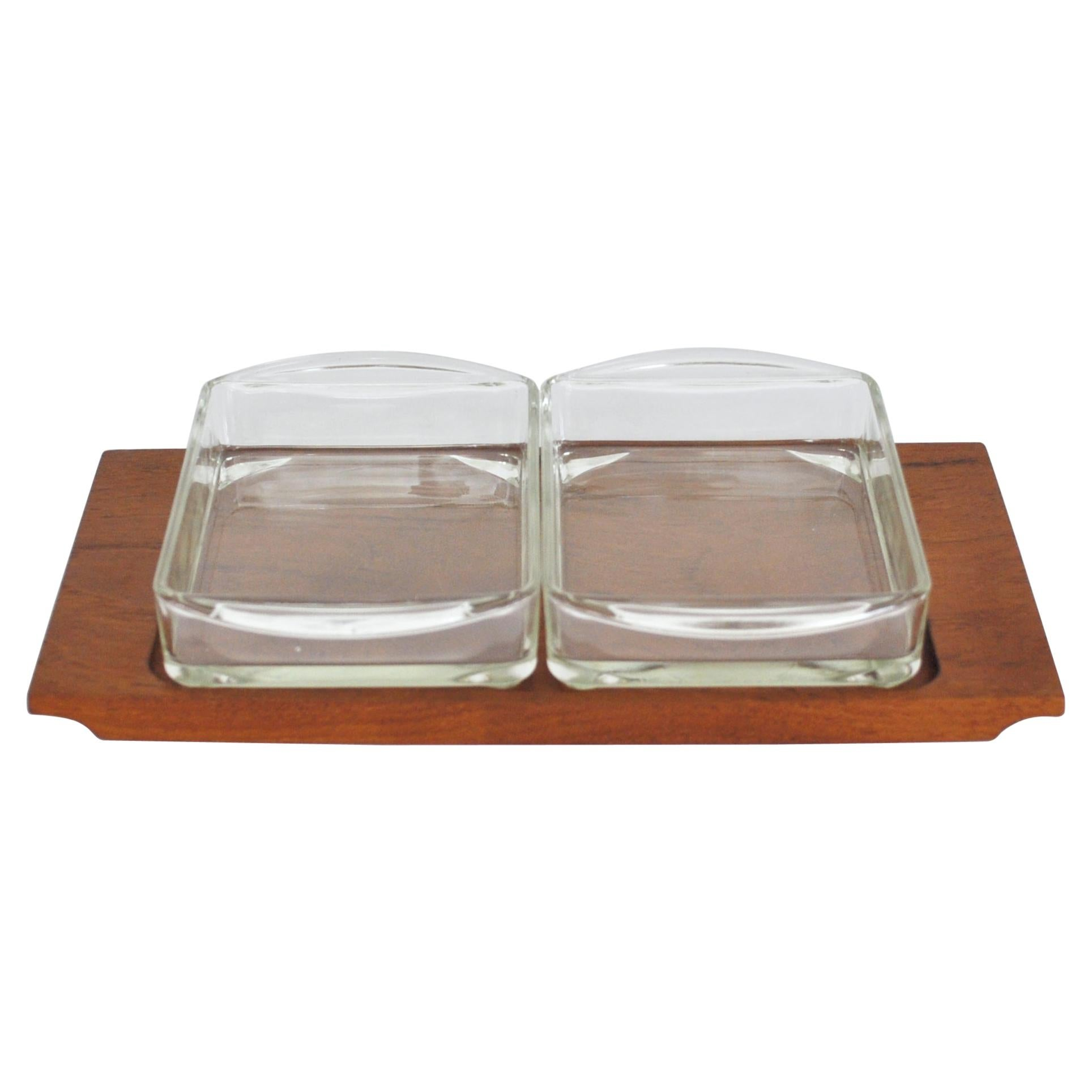 Danish Modern Teak Serving Tray with Glass Bowls by Wiggers, Denmark, 1960s