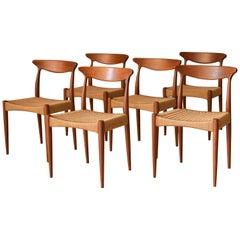 Danish Modern Teak Set of Six Arne Hovmand-Olsen Dining Chairs for Mogens Kold