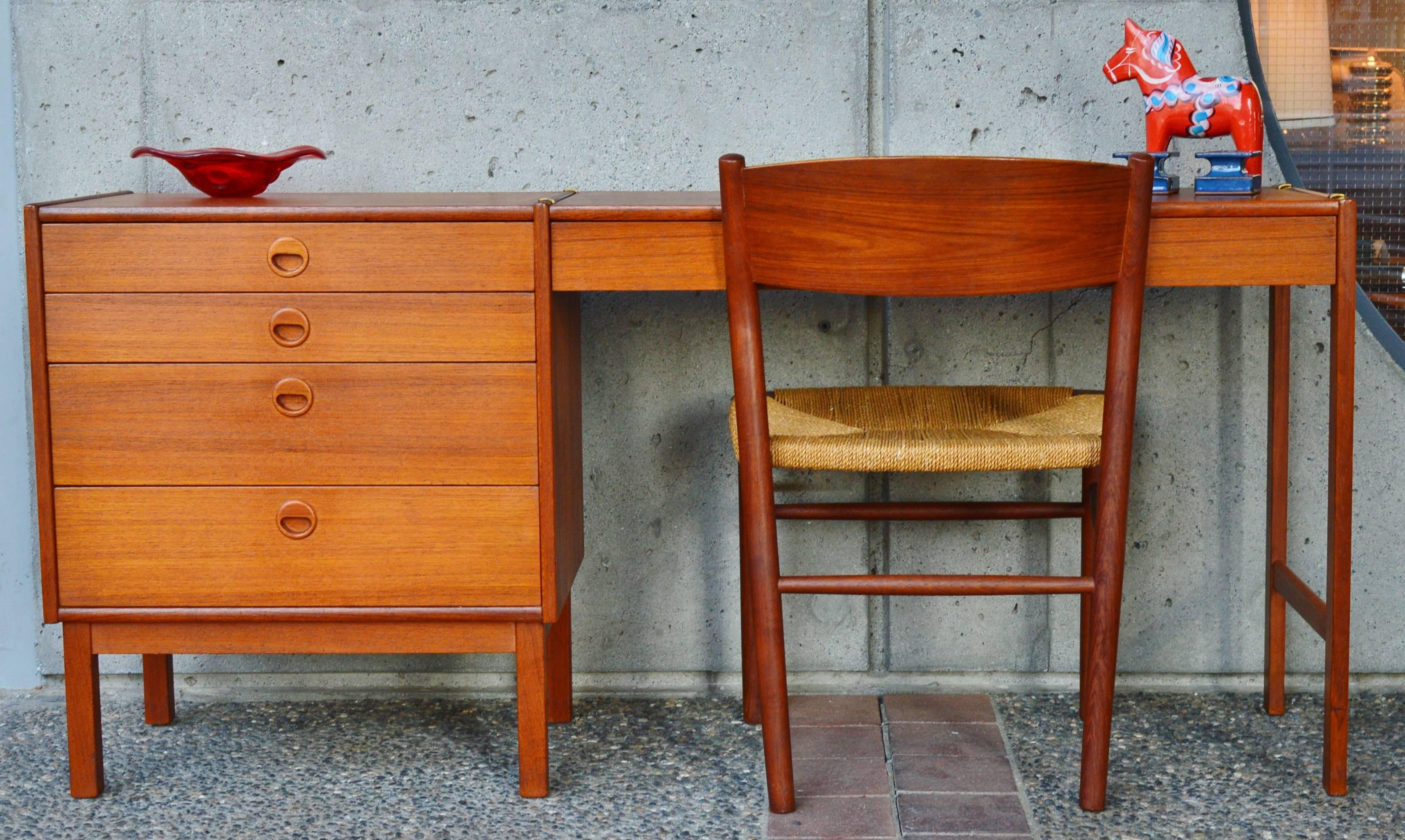 Exceptional This Totally Clever Danish Modern Narrow Teak Dresser Has An Awesome Clip  On Desk Top That