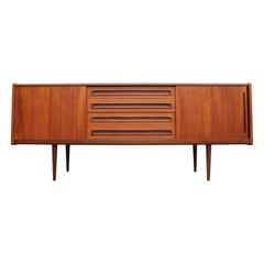 Danish Modern Teak Sideboard / Credenza with Drawers and Sliding Door Cabinets
