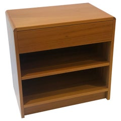 Danish Modern Teak Singe Nightstand with Shelf and Drawer