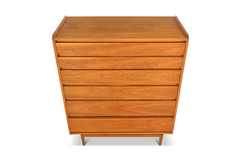 Danish Modern Teak Six Drawer Highboy Dresser In Good Condition For Sale In Berkeley, CA