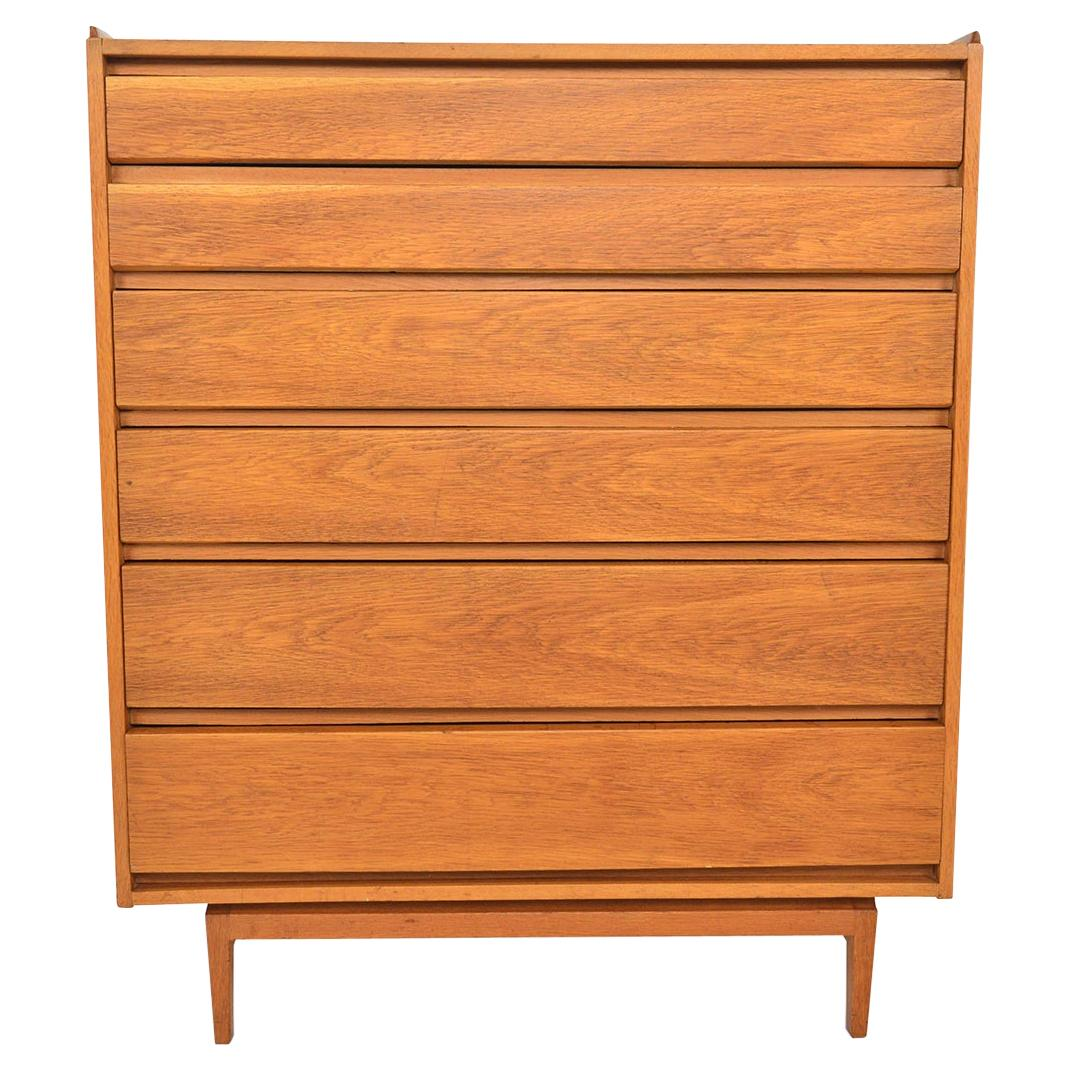 Danish Modern Teak Six Drawer Highboy Dresser