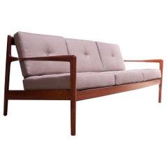 Danish Modern Teak Slat-Back Sofa Attributed to IB Kofod Larsen
