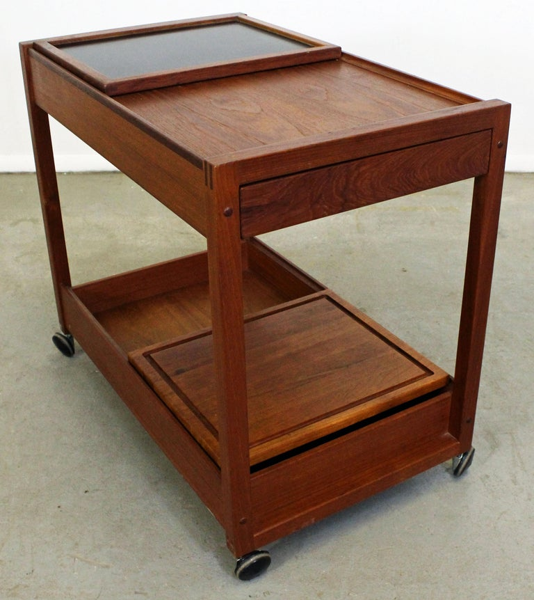 Scandinavian Modern Danish Modern Teak Sliding Door Bar Cart For Sale