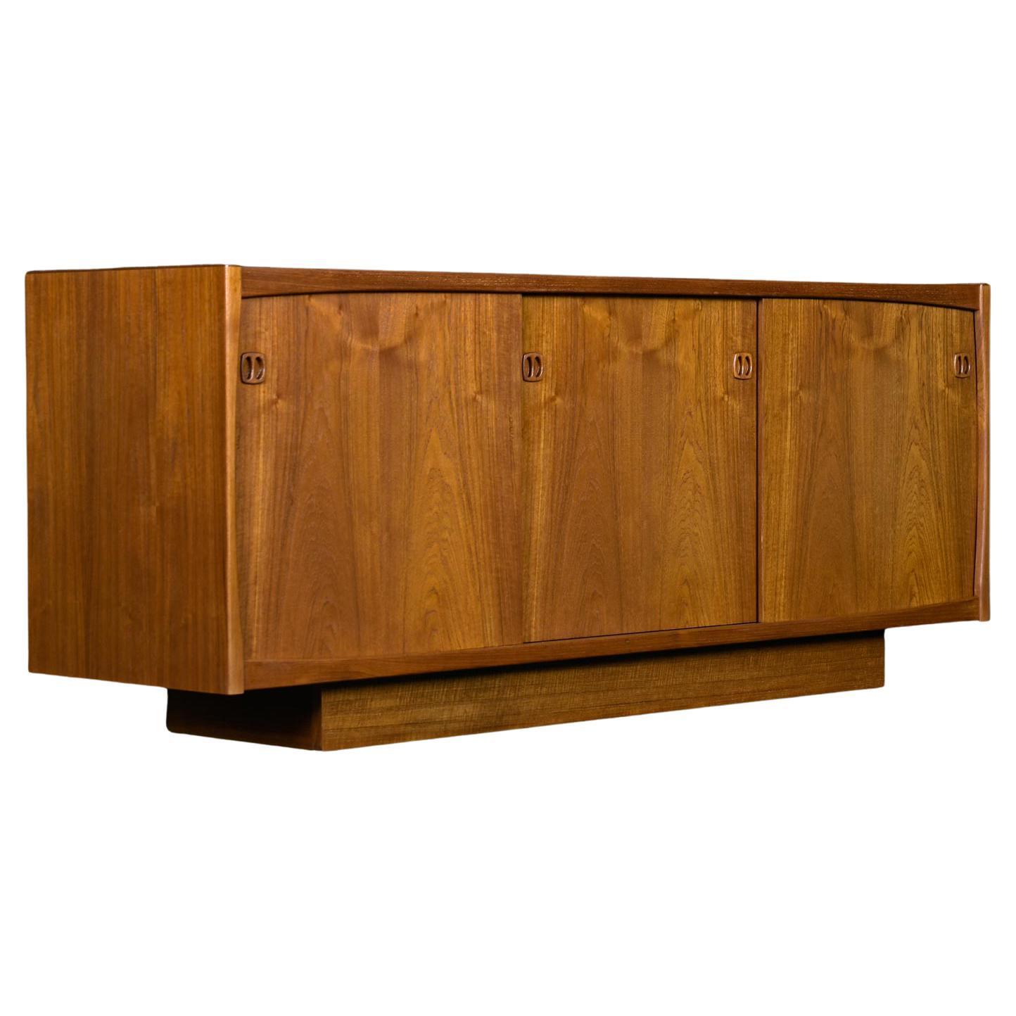 Danish Modern Teak Sliding Door Credenza Media Cabinet by Laurits M Larsen