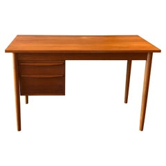 Danish Modern Teak Small Desk with Sliding Drawers for Left & Right Sided Person