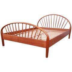 Danish Modern Teak Spindle Queen Size Bed by Jesper