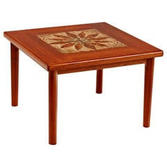 Danish Modern Teak Stone Tile Leaf Motif Side Table by BRDR Furbo