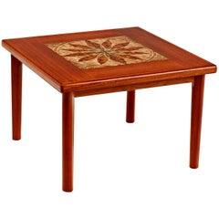 Danish Modern Teak Stone Tile Leaf Motif Side Table by BRDR Furbo