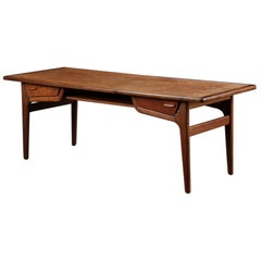 Danish Modern Teak Surfboard Coffee Table with Storage