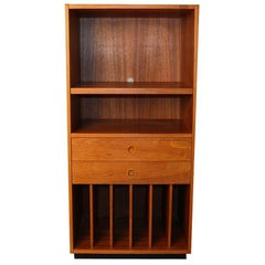Danish Modern Teak Tall Media Record Bar Cabinet