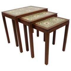 Danish Modern Teak Tile Top Nesting Tables by Willy Ryomgard Mobelfabriken