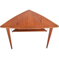 Danish Modern Teak Triangle Side Table with Rack