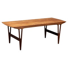 Danish Modern Teak V-Leg Surfboard Coffee Table by Erling Torvits