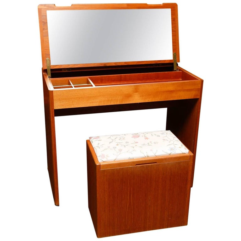 Danish Modern Teak Vanity with Storage Bench at 1stdibs