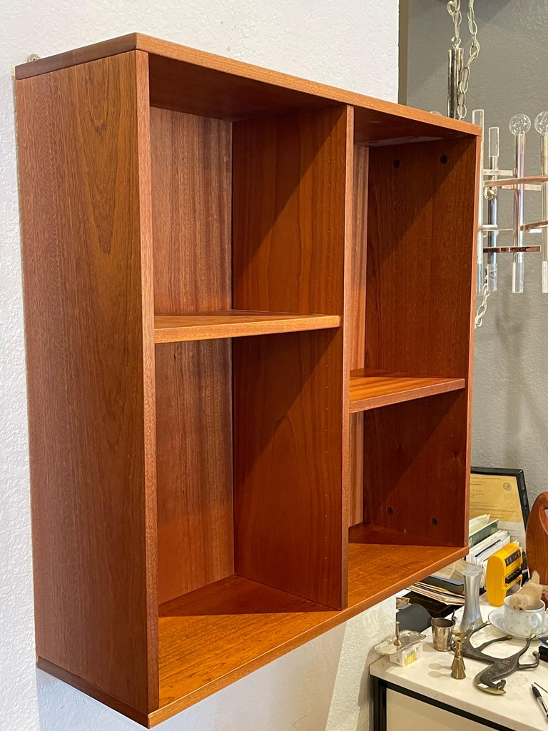 Scandinavian Modern Danish Modern Teak wall Hanging Cabinet with Removable Shelves