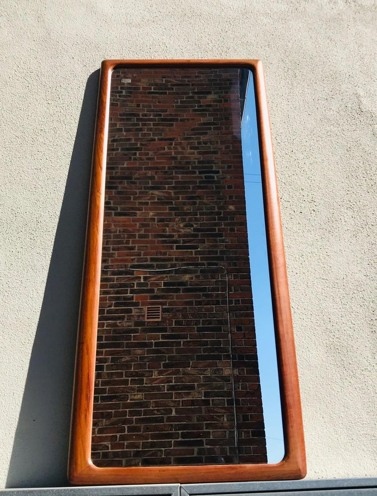 Danish Modern Teak Wall Mirror by Johannes Andersen for CFC Silkeborg, 1960s In Good Condition For Sale In Esbjerg, DK