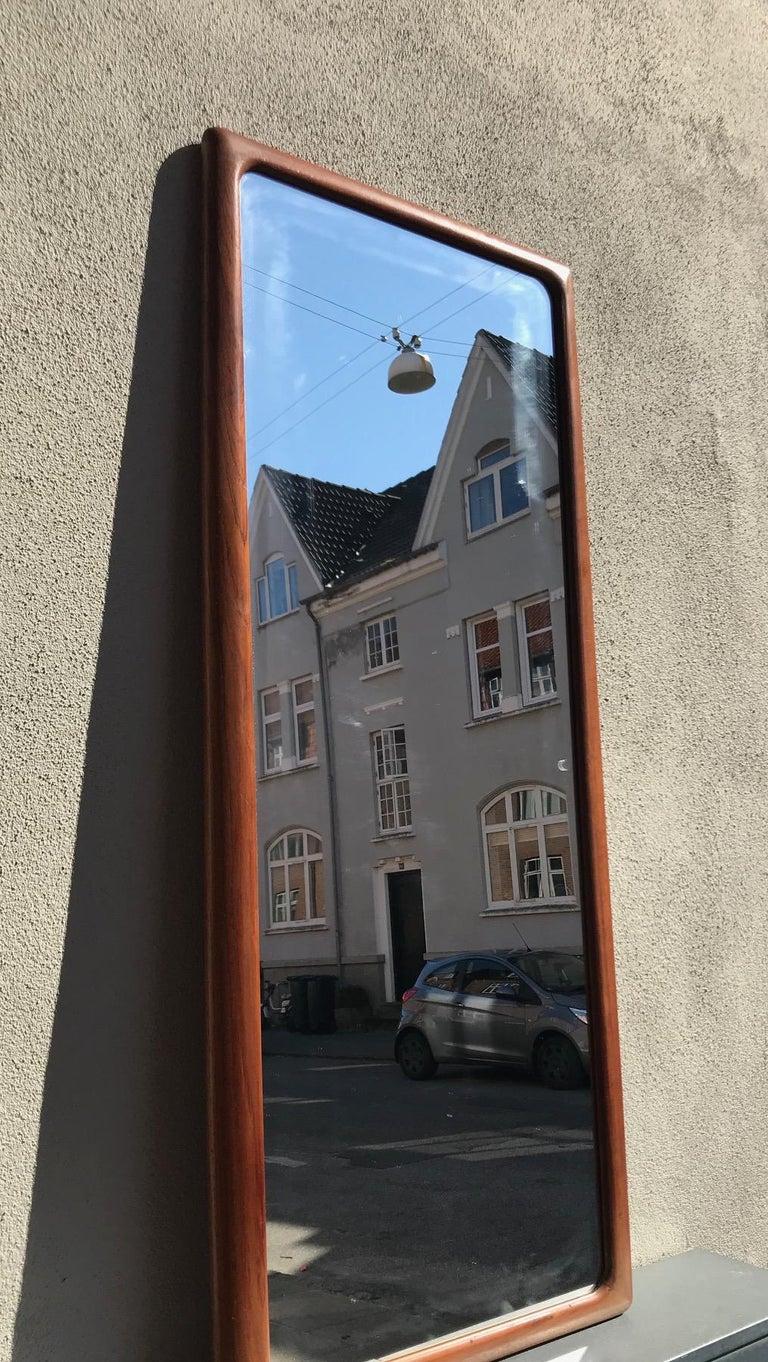 Mid-20th Century Danish Modern Teak Wall Mirror by Johannes Andersen for CFC Silkeborg, 1960s For Sale