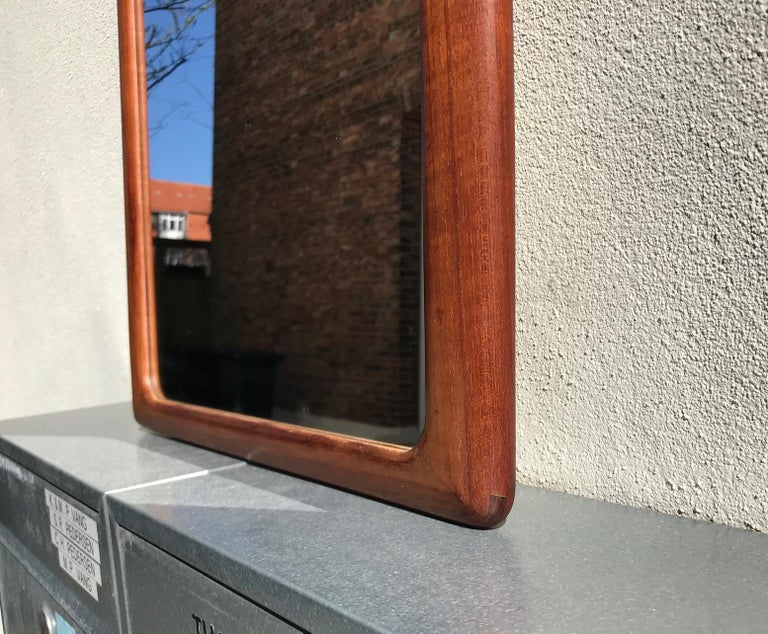Danish Modern Teak Wall Mirror by Johannes Andersen for CFC Silkeborg, 1960s For Sale 1