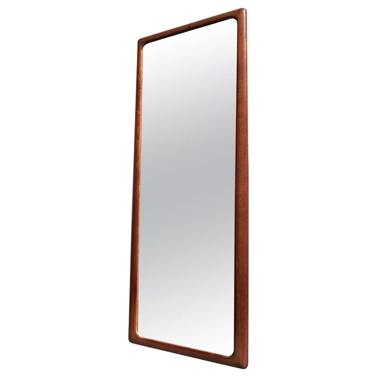 Danish Modern Teak Wall Mirror by Johannes Andersen for CFC Silkeborg, 1960s