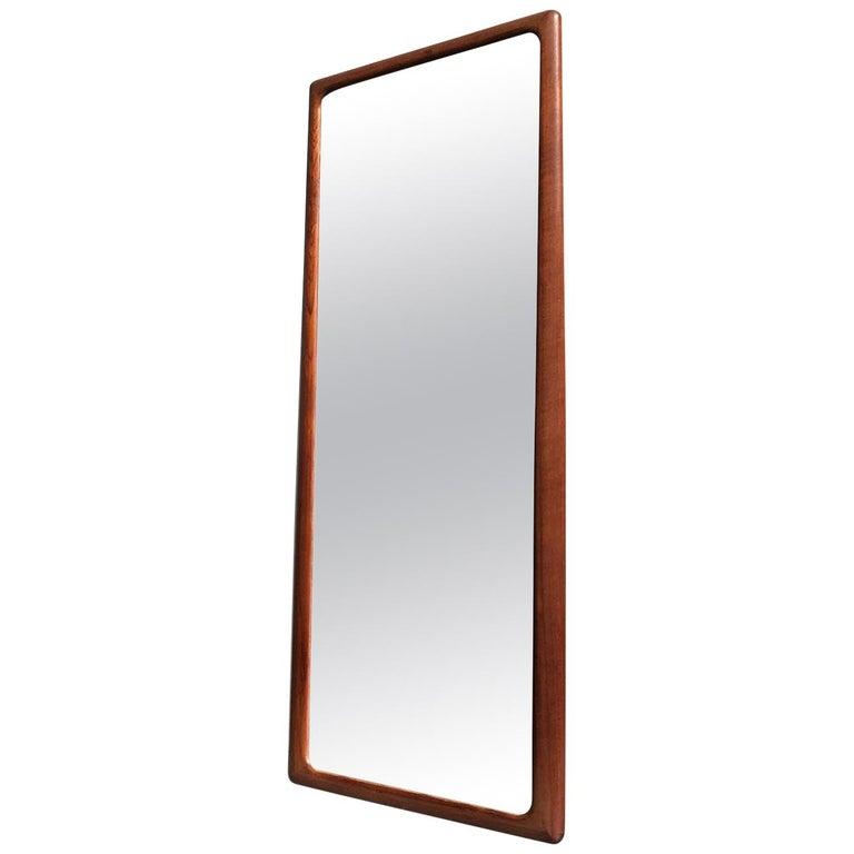 Danish Modern Teak Wall Mirror by Johannes Andersen for CFC Silkeborg, 1960s For Sale