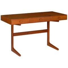 Danish Modern Teak Writing Table Desk by Georg Petersens, circa 1960s
