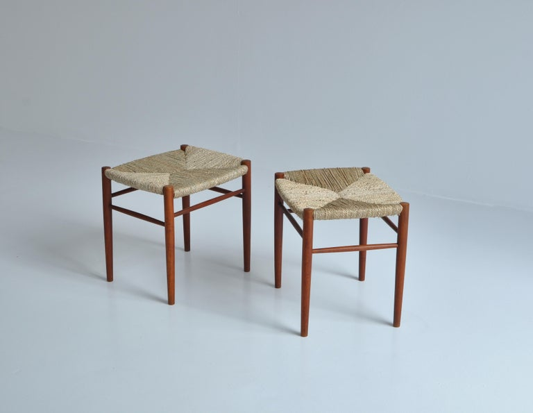 Danish Modern Teakwood / Seagrass Stools by Peter Hvidt & Orla Molgaard, 1950s In Good Condition For Sale In Odense, DK