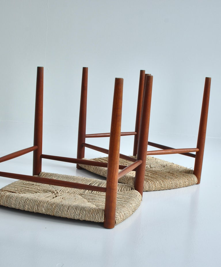Danish Modern Teakwood / Seagrass Stools by Peter Hvidt & Orla Molgaard, 1950s For Sale 4