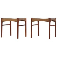 Danish Modern Teak Wood Stools by Arne Wahl Iversen from the 1960s